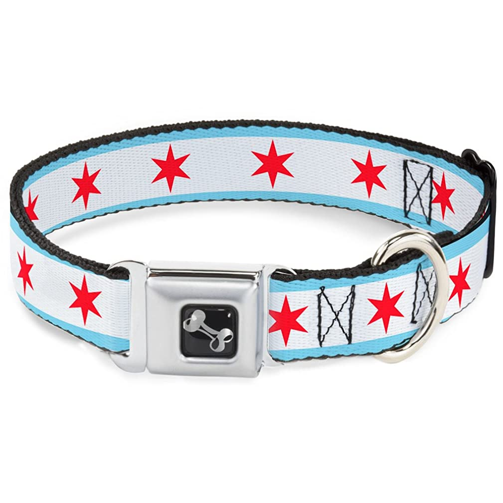 Buckle-Down Seatbelt Buckle Dog Collar - Chicago Flag
