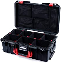 Black & Red Pelican 1535 Air case. with TrekPak Dividers & mesh lid Organizer.