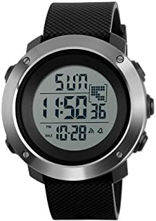 Men's Digital Sport Watch Led Electronic Military Wrist Watch with Alarm Stopwatch Dual Time Zone Count Down EL Backlight Calendar Date Window -Black