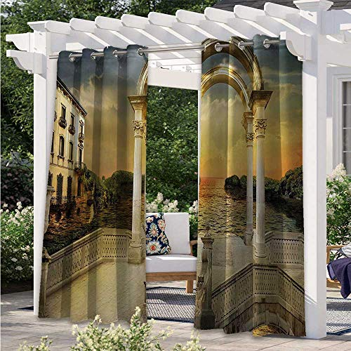 Home Curtains Surreal Bridge Gateway with Ornaments Enchanted Woods Fairytale Land Thermal Insulated, Sun Blocking Blackout Curtains Pleasing to The Eye, Durable White Light Yellow W108 x L84 Inch