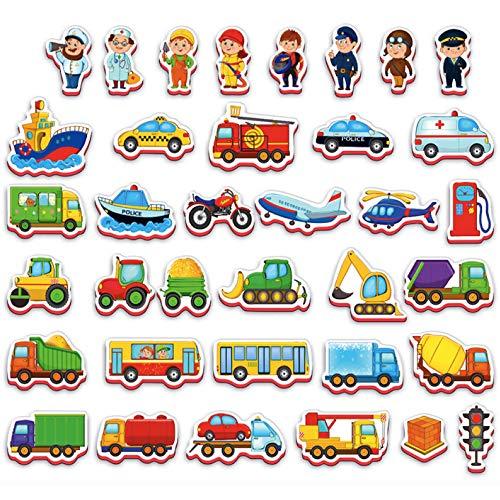 Roter Käfer Kühlschrankmagnete Kinder Transport und Berufe 36 Stück - Spielzeug 2 jährige - lernspielzeug ab 2 Jahren - Spielzeug für Mädchen und Jungen - Magnetspielzeug ab 2 Jahre- Fahrzeuge Kinder