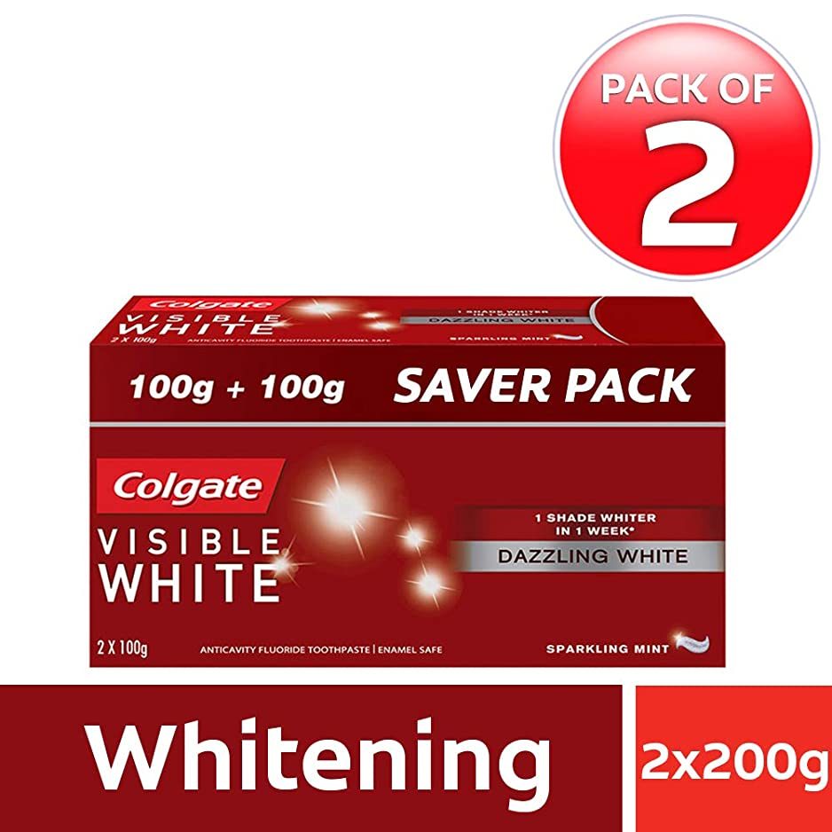 びっくり海峡発明Colgate Visible White Dazzling White Toothpaste, Sparkling Mint - 200gm (Pack of 2)