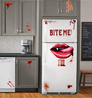 IARTTOP Halloween Bloody Vampire Lips Decal, Bite Me Scary Lettering Sticker, Blood Drop with Bloodstains Sticker, Windows...