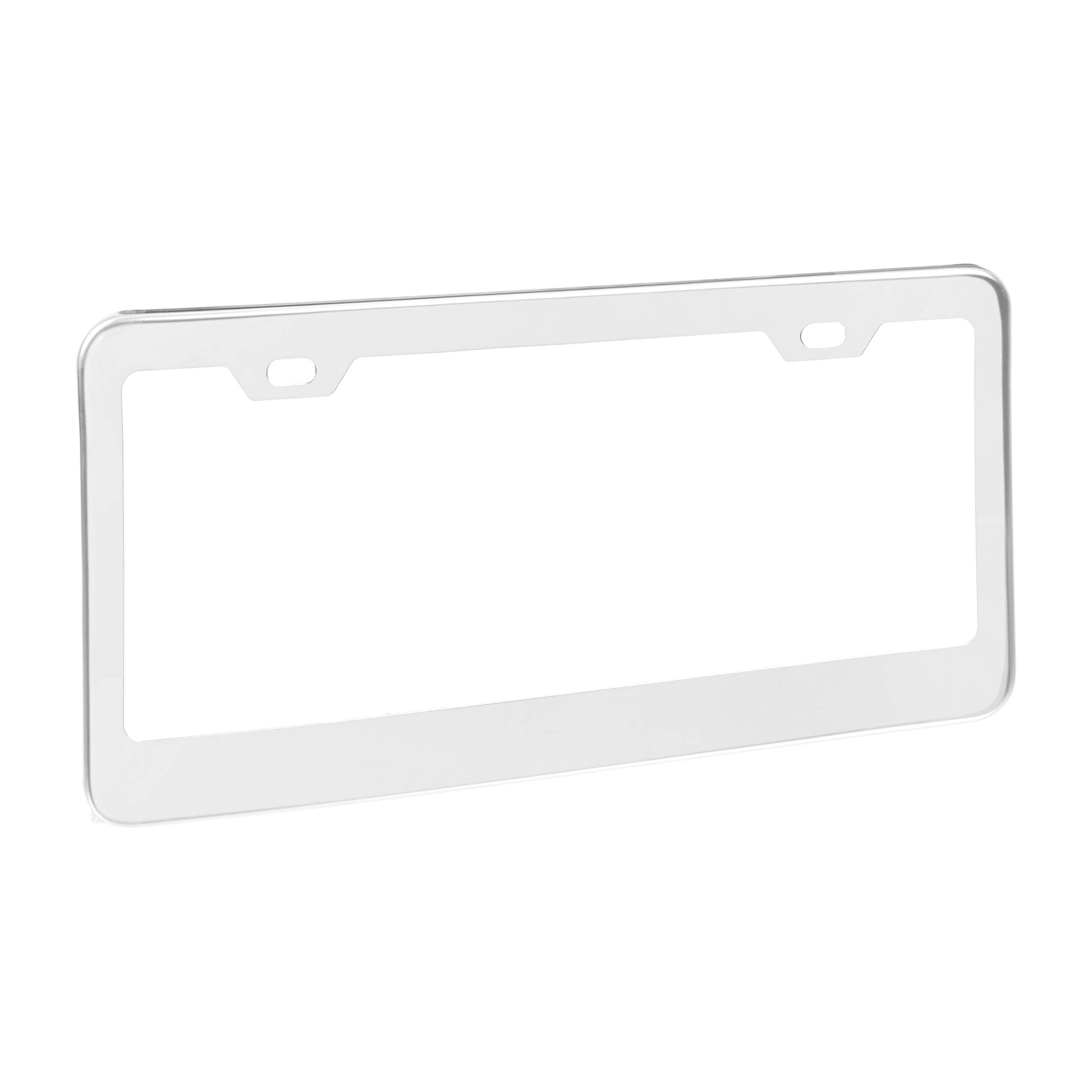 Amazon Basics Stainless Steel License Plate Frame Pair with Screw Caps - 2-Hole, 12.2'' x 6.3'', Silver