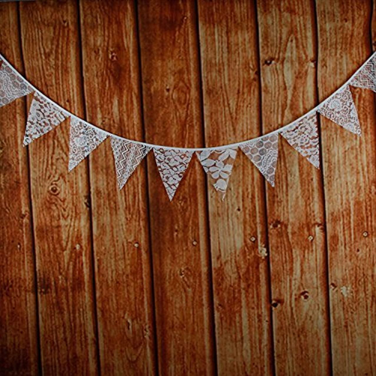 White Lace Wedding Hessian Bunting Burlap Banner Rustic Party Decor House
