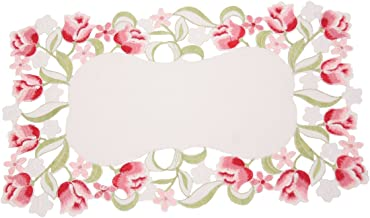 Manor Luxe Lush Rosette Embroidered Cutwork Placemats, 14 by 20-Inch, Set of 4
