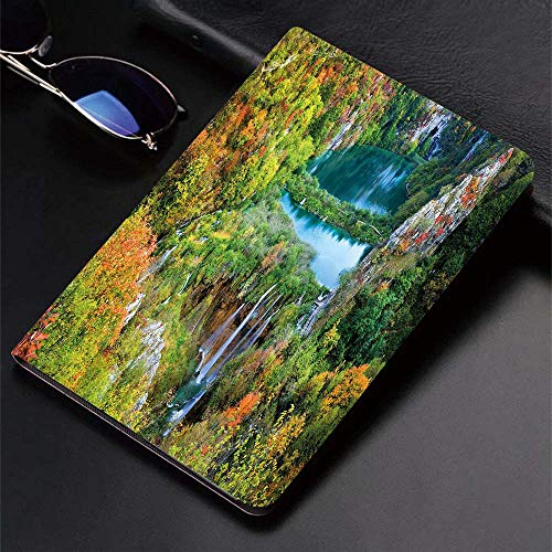 Funda para iPad (24.638, modelo 2018/2017, 6.a / 5.a generación) Funda inteligente ultradelgada y ligera, decoración otoñal, pintoresco valle otoñal en las montañas del parque nacional de los lagos de