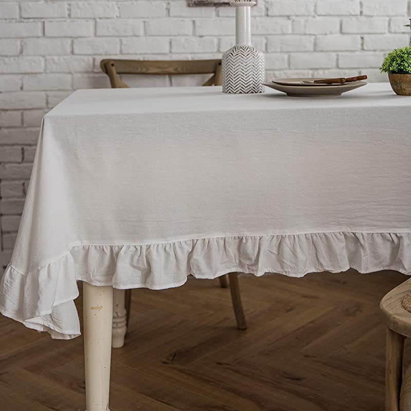ColorBird French Vintage Ruffle Trim Tablecloth Washable Cotton Linen Table Cover For Kitchen Farmhouse Rustic Wedding Banquet Baby Shower Tabletop Use Rectangle Oblong 52 X 70 Inch White
