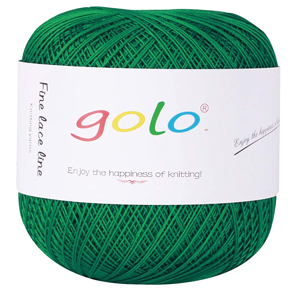 Crochet Thread Yarns for Begingers Size10-100% Contton Yarn for Knitting Crochet DIY Hardanger Cross Sitch Crochet Thread Balls Rainbow Turquoise 39 Colors Avilable (Green)