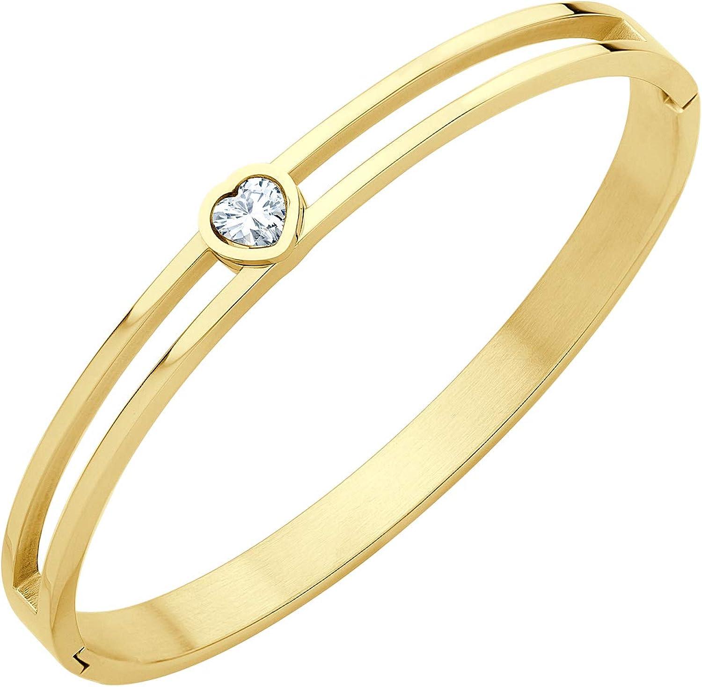 555Jewelry Stainless Steel Hinge Lock Heart CZ Cuff Bangle Bracelet for Women