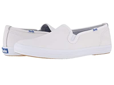 Keds Champion-Leather Slip-On (White Leather) Women