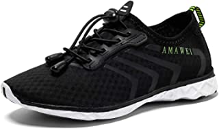 AMAWEI Boys and Girls Slip-on Amphibious Water Shoes Kids Quick-Dry Lightweight Barefoot Summer Beach Shoes Athletic Sneakers Aqua Sports Shoes for Swimming Black Size: 13 Little Kid