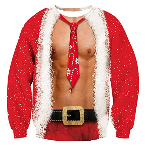 RAISEVERN Mens Ugly Christmas Sweater Funny Muscle Design Fake 2 Pieces Pullover Sweatshirt Red 1