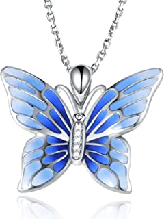 APOTIE 925 Sterling Silver Butterfly Necklace Enamel Clay Pendant Cubic Zirconia Jewelry Gift for Girl Blue/Pink