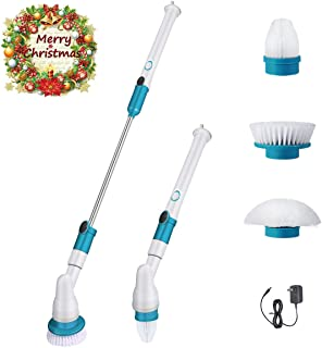 Spin Scrubber, 360 Cordless Tub and Tile Scrubber, Multi-Purpose Power Surface Cleaner with 3 Replaceable Cleaning Scrubber Brush Heads, 1 Extension Arm and Adapter for Bathroom, Tub, Tile, Wall
