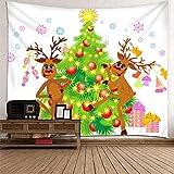 Aimsie - Tapiz de pared (poliéster, 350 x 256 cm), diseño de cerezo y árbol de Navidad