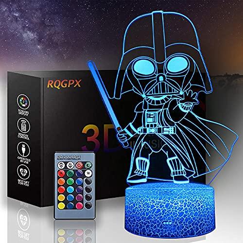 Lámpara de ilusión óptica 3D Star Wars lámpara de ilusión 3D Darth Vader 16 colores regulables USB Powered Control táctil con control remoto para niños niñas niños regalos