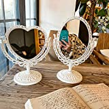 BARMI Desktop Antique Mirror, Vintage Vanity MirrorTable Mirror Tabletop Mirror Double Sided Mirror Magnifying Heart Mirror Oval Mirror Vintage Mirror Cute Vanity Mirror Pink Mirror Beige Heart