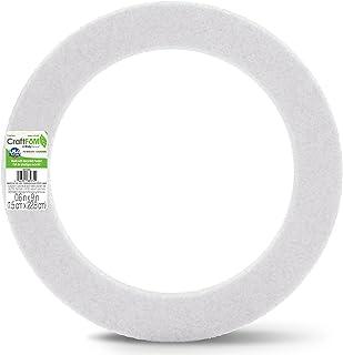 "FloraCraft Styrofoam Wreath Flat Ring 9""x1.25""x0.75"" White"