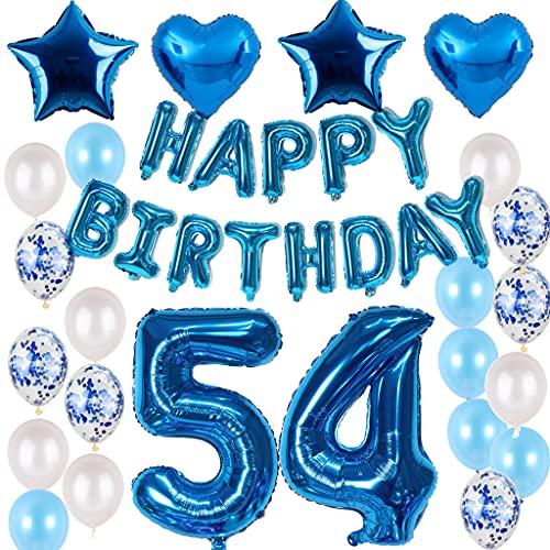 Juego de decoración de 54 cumpleaños con diseño de hombre azul y chico para 54 cumpleaños