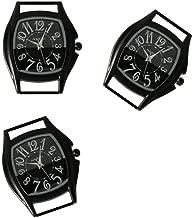 PlanetZia 2pcs Rectangle Ribbon Watch Faces for Your Interchangeable Beaded Bands TVT-4158 (2pcs Black Paint)