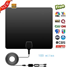 HDTV Antenna, 2019 Newest Indoor Antenna Amplified 1080P HD VHF UHF for Local Channels 100 Miles Range with Signal Amplifier Support 13ft Coax Cable