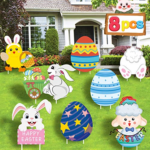 Cloira Easter Decorations Outdoor, 8PCS Yard Signs with Stakes, Bunny Easter Eggs Rabbit Chick Sheep Outdoor Lawn Easter Party Decor Holiday Ornaments for Easter Hunt Games Photo Props