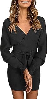 ZIYYOOHY Damen Elegant Pulloverkleid Strickkleid Tunika Kleid V-Ausschnitt Langarm Minikleid Mit Gürtel