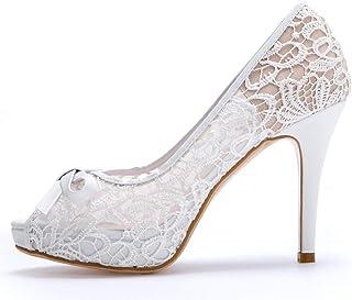Hinyyrin Fashion Sandals Platforms Shoes White Wedding High Heels Flower elegant Sandals Bow shoes Marry shoes wedding sho...