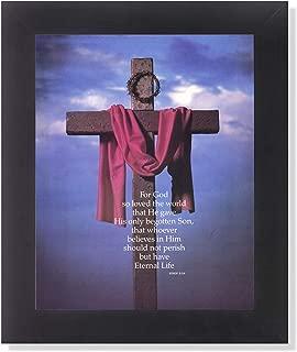 Cross Sash Crown of Thorns John 3:16 Religious Wall Picture Framed Art Print