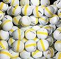 50 Premium Assorted Yellow Striped White Range Practice Golf Balls