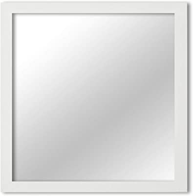 "London Square White Framed Mirror, 12"" x 12"""