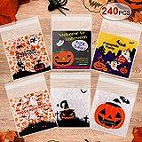 Qpout 240pcs Halloween Treats Borse Candy Bags Goody Bags Borse Goody Borse autoadesive Cellophane plastica Chiara Cookie Bags per Trick o Treat Halloween Party Favors Gift Supplies