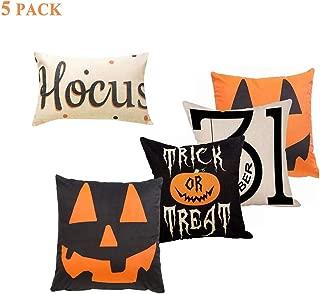 Sweetdecor 5 Pack Hocus Pocus Halloween Cotton Linen Home Decor Cushion Covers Throw Pillow Covers :18