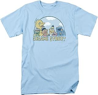 Sesame Street Group Oscar Elmo Cookie Big Bird Bert Ernie Mens Adult T-Shirt Blue