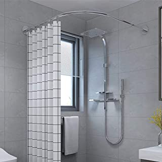 Curved Shower Curtain Rod Rails, Adjustable Extendable Bath Curtain Rail Bar Pole, No Drilling Stainless Steel 100% Rustpr...