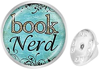 WAZZIT Round Metal Tie Tack Hat Lapel Pin Brooches Book Page Librarian Bibliophile Book Lover Art Vintage Banquet Badge Enamel Pins Trendy Accessory Jacket T-Shirt