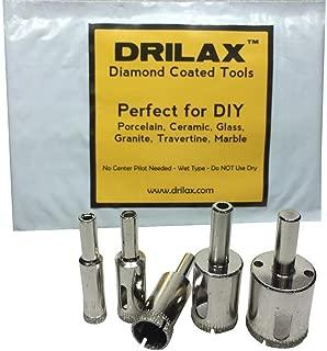 Drilax 5 Pcs Diamond Coated Drill Holesaw Bit Set Drilling 3/8 1/2 5/8 3/4 1 Wet Use Holesaw Tiles Glass Fish Tanks Marble Granite Ceramic Porcelain Bottles Quartz Lot 5 Kitchen Bathroom Shower Lamps