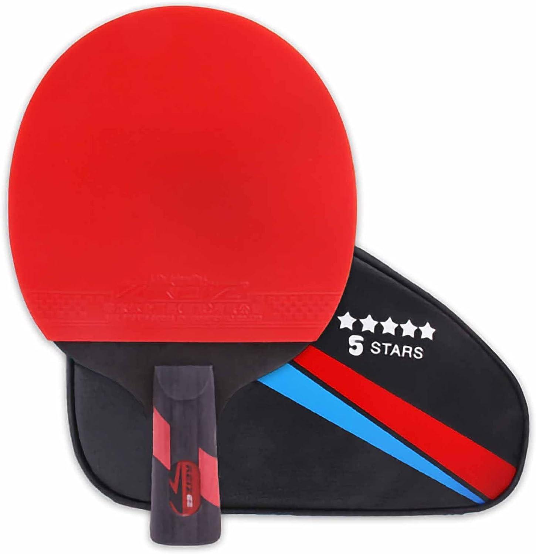 HXFENA Palas de Ping Pong,Ofensiva Principiantes de Bate de Tenis de Mesa con Excelente Elasticidad Y Control de Velocidad,Antideslizante Y Resistente Al Desgaste / 5 Star/Mango
