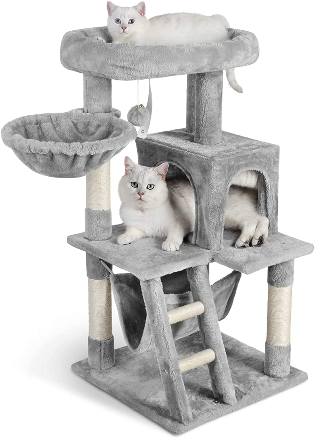 """Dooradar Cat Tower 39"""" Cat Tree Multi-Level Cat House Condo Furniture with Scratching Posts & Climbing Ladder Kitten Kitty Stand Play House Activity Center for Indoor Cats to Play & Rest, Gray"""