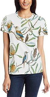 XiangHeFu T-shirt voor vrouwen meisjes natuur verf vogel aangepaste korte mouw