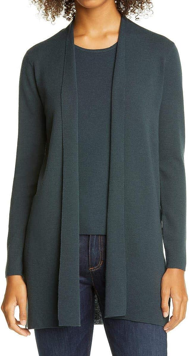 Eileen Fisher Forest Night Ultrafine Merino Wool Long Cardigan Size M/M MSRP $318