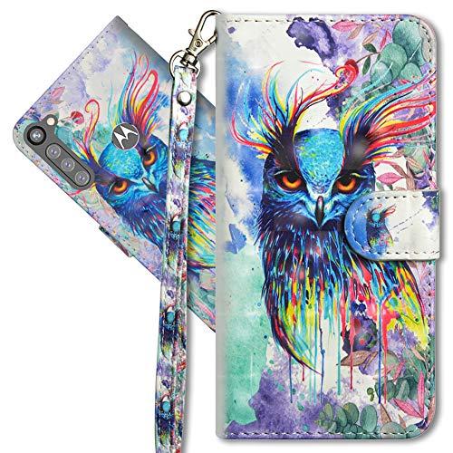 MRSTER Moto G Pro Handytasche, Leder Schutzhülle Brieftasche Hülle Flip Hülle 3D Muster Cover mit Kartenfach Magnet Tasche Handyhüllen für Motorola Moto G Pro. YX 3D Colorful Owl