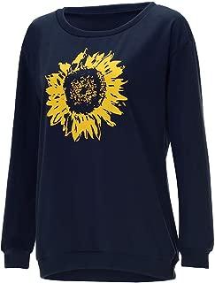 Kauneus Women's Sunflower Print Oversized Sweatshirt O-Neck Long Sleeve Relaxed Casual Blouse Shirt