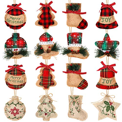 16 Pieces Burlap Christmas Tree Stocking Ornaments Rustic Hanging Decoration Stockings with Red and Green Holly Leaves Plaid Ornaments for Xmas Hanging Ornaments Decorations
