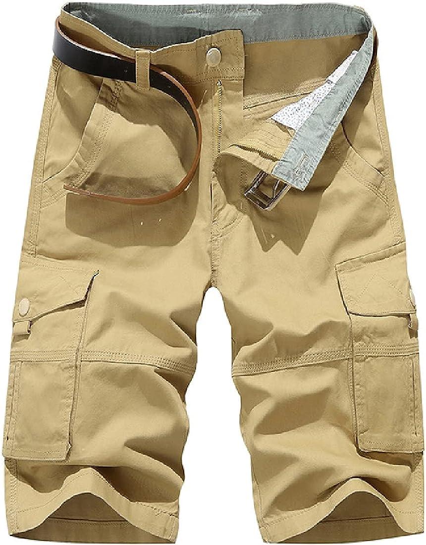 Cromoncent Men's Camouflage Multiple Pockets Bermuda Cargo Shorts Without Belt