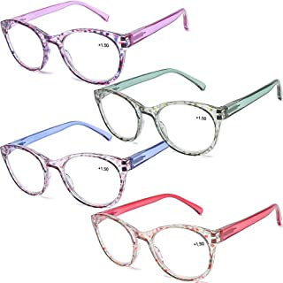 AQWANO 4 Pairs Round Blue Light Blocking Computer Reading glasses Fashion Colorful Designer Readers Spring Hinge Glasses for women, 3.0