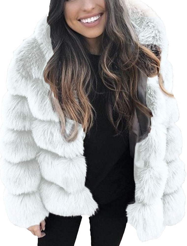 WOYAOFA Women's Oversized Coat Fashion Outwear Long Sleeve Mink Winter Hooded New Faux Fur Jacket Warm Thick Outerwea Jacket