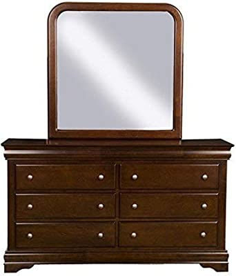 Alpine Furniture Chesapeake Dresser and Mirror Set, Brown Merlot