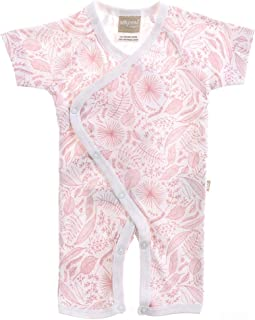Babyushka Organic Essentials Short Sleeve Kimono Jumpsuit, Pink, 00